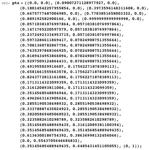 pts = {{0.0, 0.0}, {0.09007271128977927, 0.0}, {0.18014542257955854, 0.0}, {0.3973596148311608, 0.0}, {0.6675777487004985, 0.0}, {0.7783851658003322, 0.0}, {0.889192582900166, 0.0}, {0.9999999999999998, 0.0}, {0.05710381076997864, 0.05710381076997864}, {0.1471765220597579, 0.05710381076997864}, {0.23724923334953715, 0.05710381076997864}, {0.5973286611869417, 0.07024908751355644}, {0.7081360782867756, 0.07024908751355644}, {0.7635397868366925, 0.07024908751355644}, {0.8189434953866094, 0.07024908751355644}, {0.9297509124864433, 0.07024908751355644}, {0.491955029916607, 0.17562271878389113}, {0.6581661555663578, 0.17562271878389113}, {0.8243772812161086, 0.17562271878389113}, {0.1713114323099359, 0.1713114323099359}, {0.316120893811004, 0.1713114323099359}, {0.3514568548894944, 0.1713114323099359}, {0.4962663163905624, 0.1713114323099359}, {0.2855190538498932, 0.2855190538498932}, {0.33378887435024923, 0.2855190538498932}, {0.38205869485060523, 0.2855190538498932}, {0.3235882610298789, 0.3235882610298789}, {0.35145685488949435, 0.31612089381100394}, {0.35145685488949435, 0.35145685488949435}, {0.6136300186754392, 0.38636998132456046}, {0.0, 0.5543705646684832}, {0.35145685488949435,  0.6485431451105055}, {0, 1}};