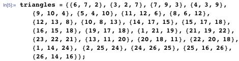 triangles = {{6, 7, 2}, {3, 2, 7}, {7, 9, 3}, {4, 3, 9}, {9, 10, 4}, {5, 4, 10}, {11, 12, 6}, {8, 6, 12}, {12, 13, 8}, {10, 8, 13}, {14, 17, 15}, {15, 17, 18}, {16, 15, 18}, {19, 17, 18}, {1, 21, 19}, {21, 19, 22}, {23, 22, 21}, {13, 11, 20}, {20, 18, 11}, {22, 20, 18}, {1, 14, 24}, {2, 25, 24}, {24, 26, 25}, {25, 16, 26}, {26, 14, 16}};
