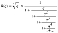 Form that R(q) is the continued fraction of