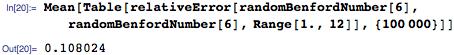 Mean[Table[   relativeError[randomBenfordNumber[6], randomBenfordNumber[6], Range[1., 12]], {100000}]]