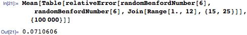 Mean[Table[   relativeError[randomBenfordNumber[6], randomBenfordNumber[6], Join[Range[1., 12], {15, 25}]], {100000}]]