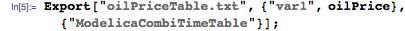 "Export[""oilPriceTable.txt"", {""var1"", oilPrice}, {""ModelicaCombiTimeTable""}];"
