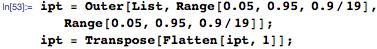 ipt = Outer[List, Range[0.05, 0.95, 0.9/19],     Range[0.05, 0.95, 0.9/19]]; ipt = Transpose[Flatten[ipt, 1]];