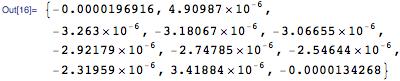 {-0.0000196916,   4.90987*10^-6, -3.263*10^-6, -3.18067*10^-6, -3.06655*10^-6, \ -2.92179*10^-6, -2.74785*10^-6, -2.54644*10^-6, -2.31959*10^-6,   3.41884*10^-6, -0.0000134268}