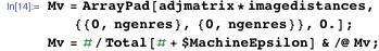 Mv = ArrayPad[adjmatrix*imagedistances, {{0, ngenres}, {0, ngenres}},     0.]; Mv = #/Total[# + $MachineEpsilon] & /@ Mv;