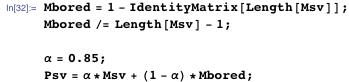 Mbored = 1 - IdentityMatrix[Length[Msv]]; Mbored /= Length[Msv] - 1;  \[Alpha] = 0.85; Psv = \[Alpha]*Msv + (1 - \[Alpha])*Mbored;