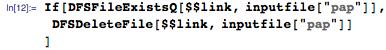 """If[DFSFileExistsQ[$$link, inputfile[""""pap""""]],  DFSDeleteFile[$$link, inputfile[""""pap""""]]  ]"""
