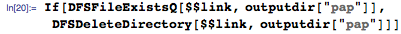 """If[DFSFileExistsQ[$$link, outputdir[""""pap""""]], DFSDeleteDirectory[$$link, outputdir[""""pap""""]]]"""