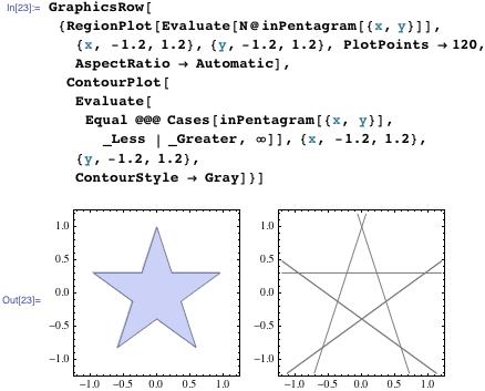 GraphicsRow[{RegionPlot[Evaluate[N@inPentagram