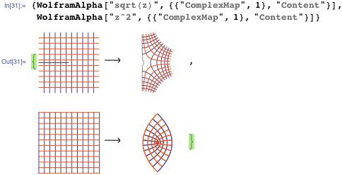 """{WolframAlpha[""""sqrt(z)"""", {{""""ComplexMap"""", 1}, """"Content""""}],   WolframAlpha[""""z^2"""", {{""""ComplexMap"""", 1}, """"Content""""}]}"""