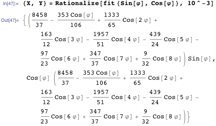 {X, Y} = Rationalize[fit {Sin[\[CurlyPhi]], Cos[\[CurlyPhi]]}, 10^-3]