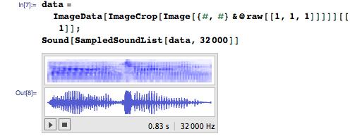 data = ImageData[ImageCrop[Image[{#, #} &@raw[[1, 1, 1]]]]][[1]]; Sound[SampledSoundList[data, 32000]]