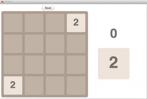 Initial screen shot of Wolfram 2048