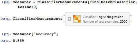 Generate ClassifierMeasurements object to query for various results