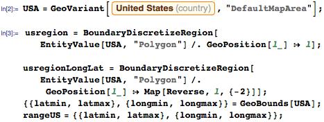 Polygon of the US and its latitude/longitude boundaries