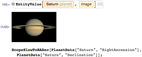 Slew scope to Saturn