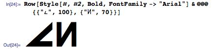 Row[Style[#, #2, Bold, FontFamily ...