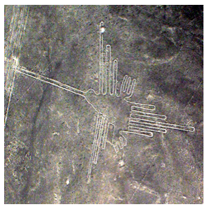 Nazca Lines: aerial image of a 310-foot-hummingbird drawing