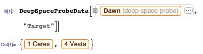 Dawn deep space probe data