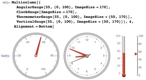 Multi-column customizable gauges