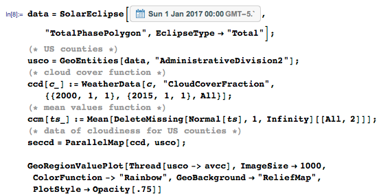 Computing 2017 eclipse path and historical cloud coverage for areas