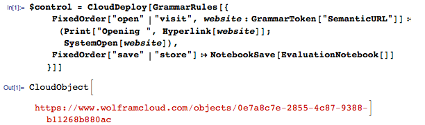 Natural language commands for visiting websites and saving notebooks