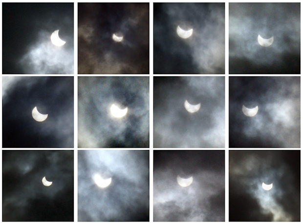 Solar eclipse images filtered with ImageAdjust