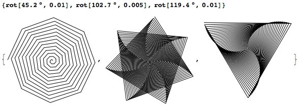 Spirals created using AnglePath