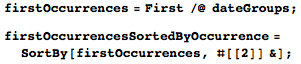 Using firstOccurrences and firstOccurrencesSortedByOccurrence