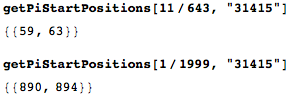 Two rational numbers whose decimal expansions contain the digit sequence