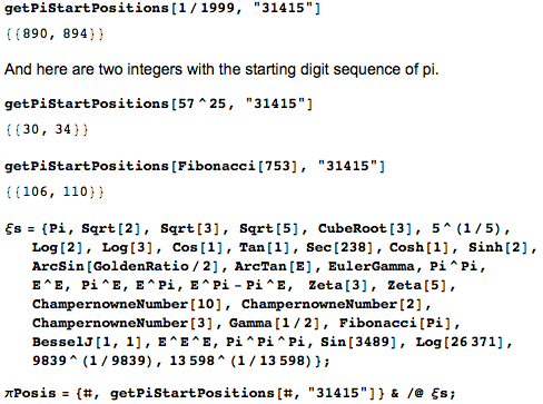 Two integers with the starting digit sequence of pi