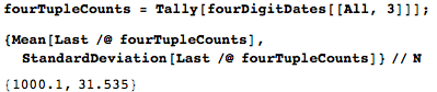 Counts for the 4-tuples