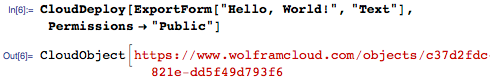 Deploy Hello, World! in the Wolfram Cloud
