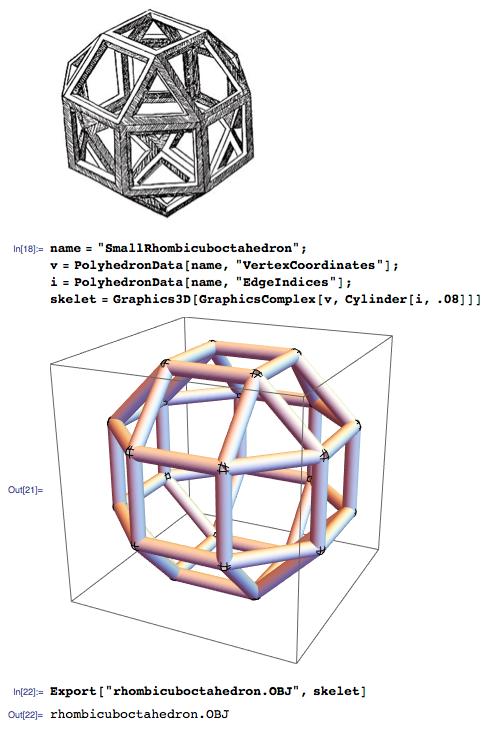 Leonardo Da Vinci rhombicuboctahedron sketch into 3D printed