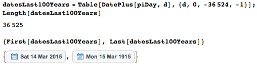 List of dates under consideration