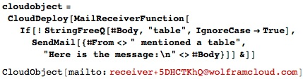MailReceiverFunction checking incoming mail for mention of table