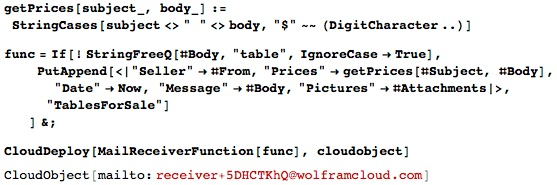 Running func in Wolfram Cloud account every time an email is received