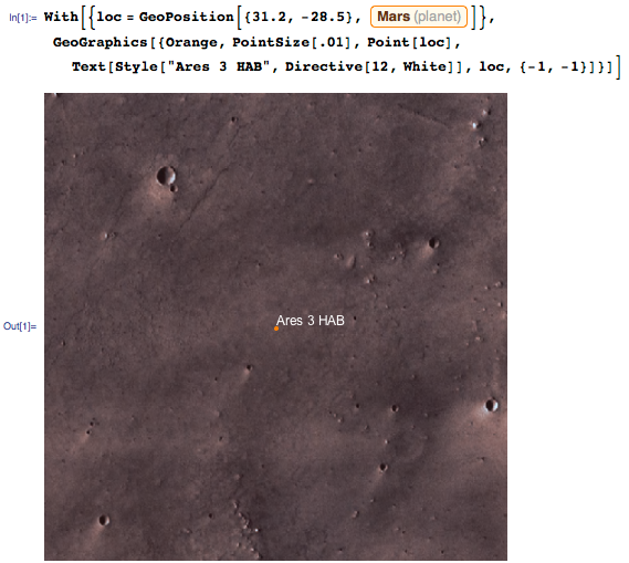 Using GeoGraphics to visualize the area around the Ares 3 HAB