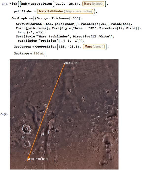 Visualisizing the path Watney takes using GeoGraphics