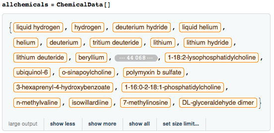 List of all chemicals known in the Wolfram Language