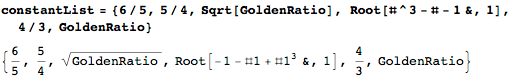 Square root of the golden ration, 5/4, and 6/5