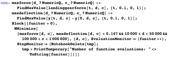 Example of using the Wolfram Language to find the optimum solution