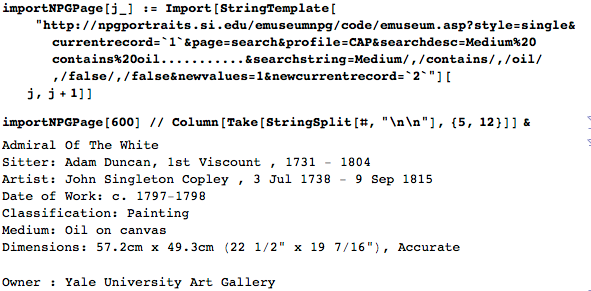 Importing web pages from the National Portrait Gallery