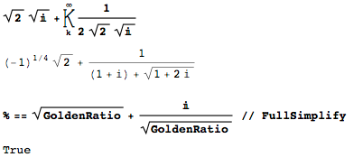 Square root of the golden ratio as natural ingredient of real and imaginary parts