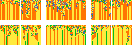 """Cellular automata with different initial states but same final states. Like rain on a mountainscape, initial cells can """"fall"""" in any of many different places and wind up in the same final position."""