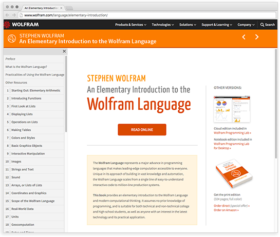 Website for An Elementary Introduction to the Wolfram Language