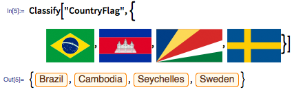 """In[5]:= Classify[""""CountryFlag"""", {images:flags}]"""