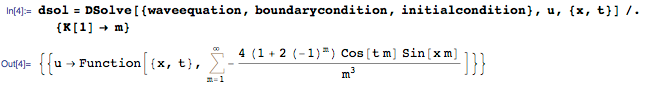 Using DSolve to solve the initial boundary value problem for the wave equation
