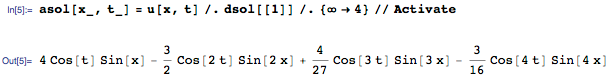 Extracting four terms from the sum