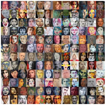 Array of 144 randomly selected faces in modern art paintings